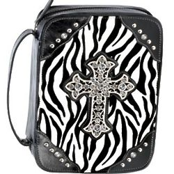 Black Zebra Print Bible Tote