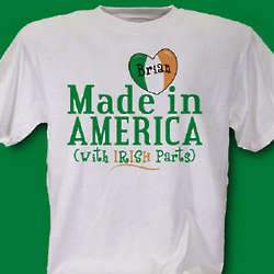 Personalized Made with Irish Parts T-Shirt