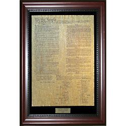 Parchment United States Constitution in Mahogany Wood Frame