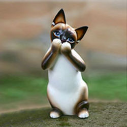 Speak No Evil Siamese Cat Wood Statuette