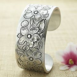 February Flower of the Month Pewter Cuff Bracelet