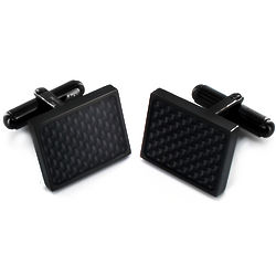 Stainless Steel Blackplated Carbon Fiber Cuff Links