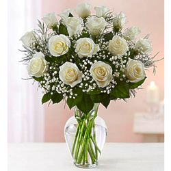 Premium Elegance 18-Stem White Rose Bouquet