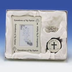 Baptism Photo Frame and Rosary Box Set