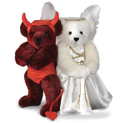 "15"" Angel and Devil Teddy Bear Set"