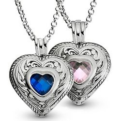 Engravable Sterling Silver Birthstone Heart Necklace