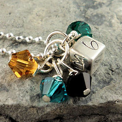 Personalized Hand Stamped Initial Cube with Birthstones Necklace
