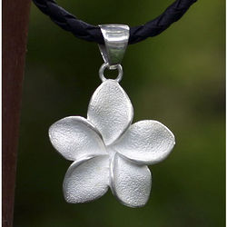 Sterling Silver Frangipani Pendant Necklace
