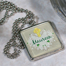 Irish Blessings Personalized Square Frame Necklace