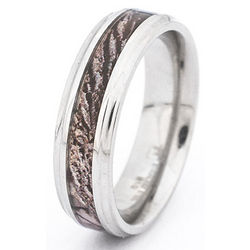 Engraved Stainless Steel Camo Wood Design Ring