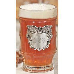 Glass Beer Mug with Eagle Badge