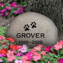 Personalized Medium River Rock Paw Print Pet Memorial Stone