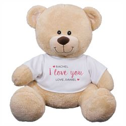 I Love You Hearts Teddy Bear with Personalized T-Shirt