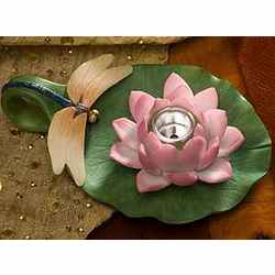 Dragonfly and Water Lily Chamberstick Candle Holder