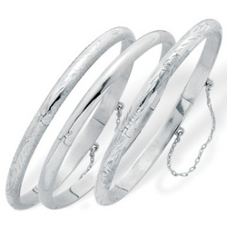 Sterling Silver Set of Three Bangle Bracelets