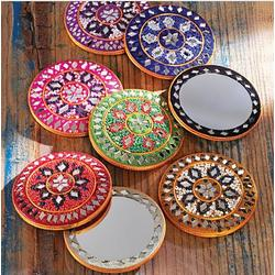 Set of Eight Rajasthani Sparkling Pocket Mirrors
