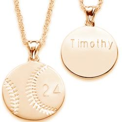 Engraved Baseball Pendant Necklace