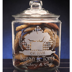 Personalized Bakery Theme Etched Glass Cookie Jar