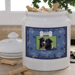 Personalized Photo Throw Me A Bone Dog Treat Jar