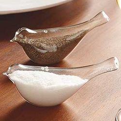 Glass Bird Salt and Pepper Shakers