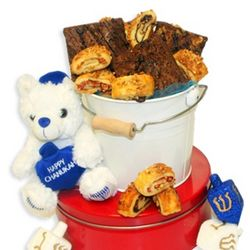 Chanukaah Cookies and Bear Gift Bucket