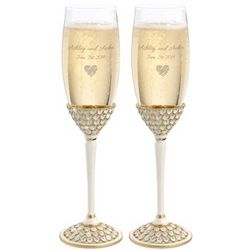 Gold Royal Heart Engavable Champagne Toasting Flutes