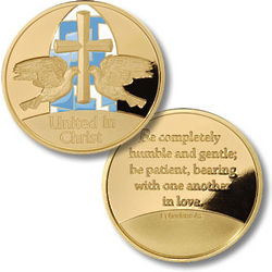 United in Christ Wedding Rings Engraved Coin