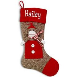 Sock Monkey with Scarf Personalized Christmas Stocking