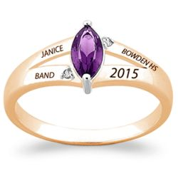 18 Karat Gold-Plated Marquise Birthstone and Diamond Class Ring