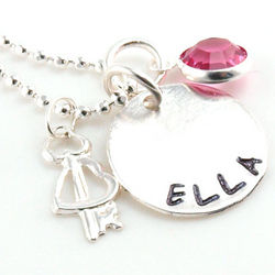 Key to My Heart Personalized Hand-Stamped Birthstone Necklace