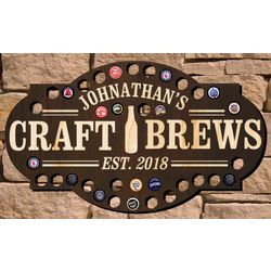 Personalized Craft Brews Beer Cap Bar Sign