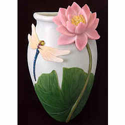 Dragonfly and Water Lily Wall Vase/Pocket