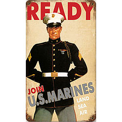 Ready US Marines Metal Sign