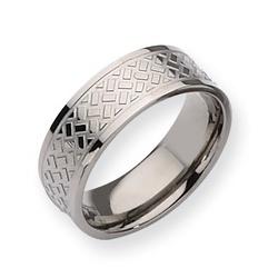 Mens Titanium Ring with a Weave Design
