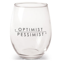 Optimist/Pessimist Wine Glasses