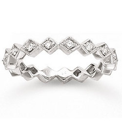 14k White Gold Eternity 1/4 Ct Diamond Stackable Ring