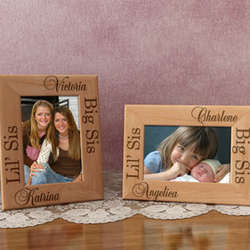 Personalized Lil' Sis & Big Sis Wooden Picture Frame