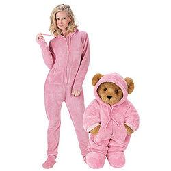 """15"""" Hoodie-Footie Teddy Bear and Hoodie-Footie Women's Pajama"""