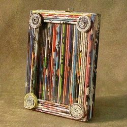 Small Newspaper Picture Frame with Clear Finish