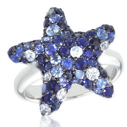 Starfish Sapphire Ring in Sterling Silver