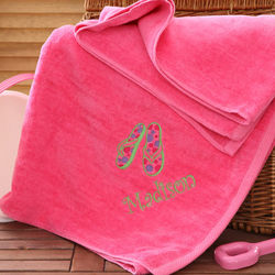 Beach Fun Personalized Pink Beach Towel