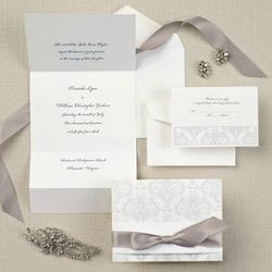 Elegant Damask Wedding Invitations in Bright White