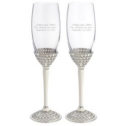 Silver Royal Heart Champagne Toasting Flutes