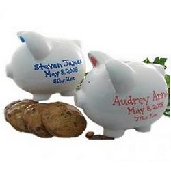 Personalized Piggy Bank with Gourmet Cookies