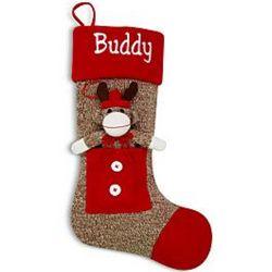 Reindeer Sock Monkey Personalized Christmas Stocking