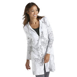 Women's Black and Grey Print UPF Resort Cover Up