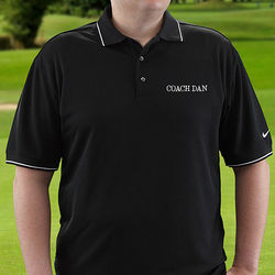 Personalized Dri-Fit Black Polo Golf Shirt