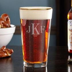 Midas Gold Rim Personalized Beer Glass