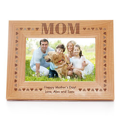 Mom's Personalized Carved Wood Picture Frame with Hearts Border
