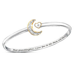 I Love You to the Moon & Back Gold-Plated Granddaughter Bracelet
